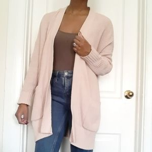 AERIE | Light pink cable knit cardigan